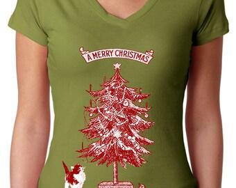 cat shirt - cat tshirt - cat gifts - cat lover gift - cat lover - womens tshirts - christmas shirts - holiday -A MERRY CHRISTMAS-sport vneck
