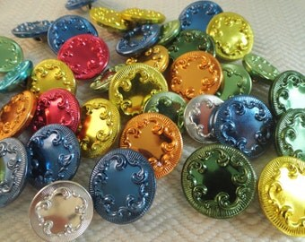 50 Colorful Metal Vintage Buttons From Our Grab Bag