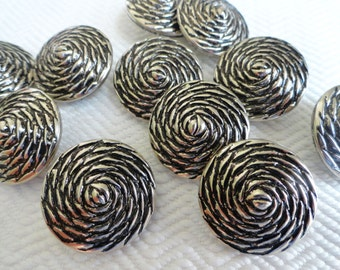 Dahlia Metal Vintage Buttons 7/8 inch 23mm for Jewelry Beads Sewing Knitting Silver Coat Jacket Blazer