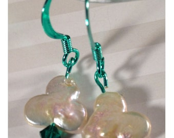 Luck of the Irish--Shamrock Pearls ColorSparx Earrings! Shiny Green Metal, Freshwater Pearls and Green Swarovski Crystals