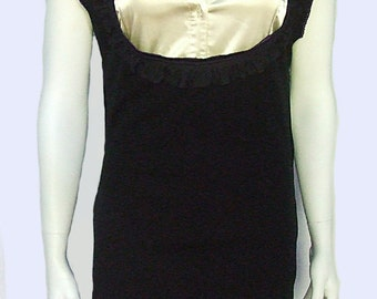 New Design Dress or Jumper, black with purple thread ruffled on shoulders, collar and hem, long straps, above knee length