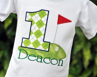Golf Shirt - Golf Birthday Shirt - Personalized Golf Shirt - Golf Shirt for Boys - Golf Party Shirt - Argyle Shirt - First Birthday Shirt