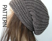 Instant Download Knitting  hat pattern- Downloadable Pattern  , Knitting Pattern - Brioche Stitche  hat  Pattern - Slouchy  Hat Knit Pattern