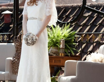 Vintage Inspired Chantilly Antique Lace Wedding Dress in Ivory Lady Claire By Sheena Solis