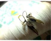 HALF PRICE Treasure Chest - brass charm earrings / brass dangle earring / feather earrings  / leaf earrings / gold dangle earrings