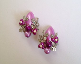 Vintage Purple Plastic Earrings with Rhinestones Clip On