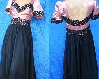 Vintage 40s 1940s 30s 1930s Pink Satin Brocade Evening Prom Party Cocktail Dress Gorgeous