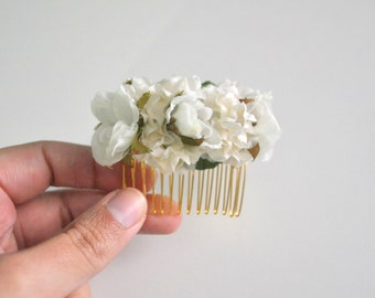 White and Ivory Rose Fascinator Bridal Hair Comb White Flower Wedding Hair Comb by KimArt