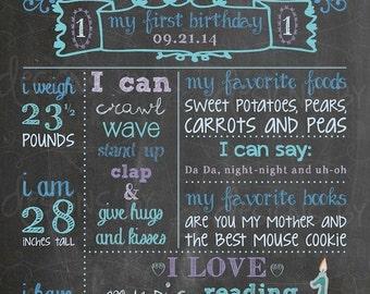 Frozen 1st Birthday Chalkboard Birthday Poster Sign Memory, first birthday, blue, aqua, teal, purple, sliver, custom digital printable