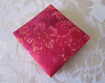 Magic Wallet, Plumeria, Hawaiian, Batik, Hawaiian Plumeria Batik in Hot Pinks,  Mini size Magic Wallet