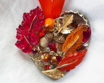 Vintage Jewelry Hand Embellished Mirrored Heart Ornament, OOAK, Fall Themed / Autumn/ Harvest Leaves and Acorns Orange, Red, Brown, and Gold