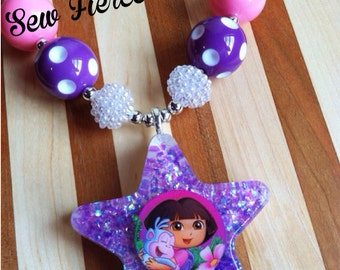 Purple Explorer Girl Chunky Necklace - Photo Prop - Dress Up