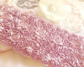 """Lilac Mist Satin Shabby 5 Rows Rosette Trim- 2.75""""x 1 yard for Boutique Dresses, Weddings, Altered Crafts"""