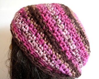 Crochet Pink, Brown Beanie for Fall and Winter, Sized for Teens and Adults