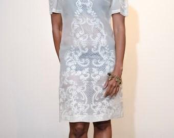 Vintage Beige Linen and Antique Lace Shirt Dress