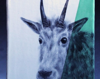 Hand Painted Rocky Mountain Goat Portrait Wall Tile Light Green