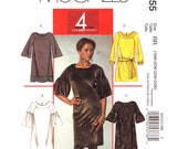Womens Dress Pattern McCalls 5555 Plus Size 18 20 22 24 Round Neck Band Tunic or Dress Sleeve Variations Womens Sewing Pattern UNCUT