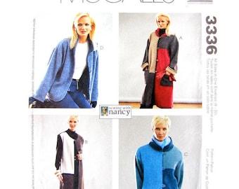 Fleece Jacket Coat & Vest Pattern McCalls 3336 Color Block Jacket Hooded Button Front Long Coat Pattern Women Sewing Pattern Size 8 to 22