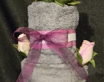Housewarming Gift 3 Tier Grey Towel Cake with Pink, Purple, & Silver Accents