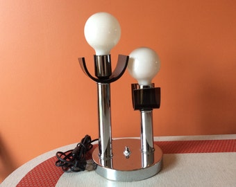 Vintage chrome and smoked lucite lamp