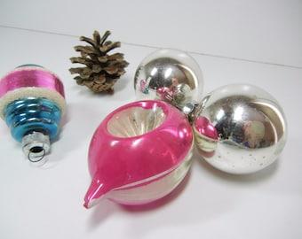 Vintage Christmas ornaments / holiday ornaments / CIJEtsy glass / Pink Blue and Silver / Balls / Atomic Xmas / mid-century / Christmas