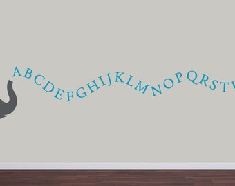 Alphabet Elephant Vinyl Decal Set - Childrens Wall Decal - Nursery Playroom Vinyl Decal Set