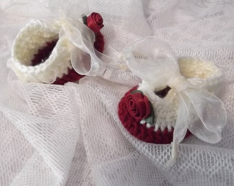 Luxurious Roses Baby Shoes 0-3 months baby - ready to ship