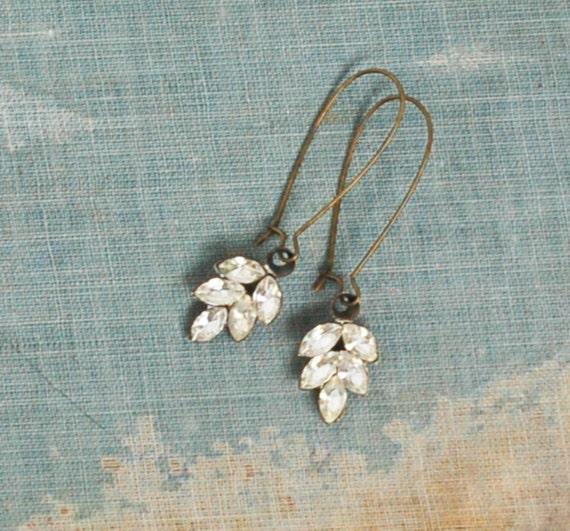 Rhinestone LEAF Earrings Romantic Bridal Estate  Crystal Jewel Rustic Autumn Leaf