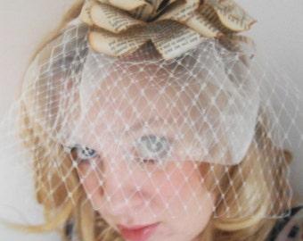 Text book paper rose flower hair band fasinator tiara bridal bridesmaid
