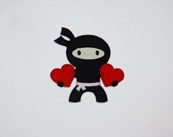Embroidered Iron On Applique- Valentine Ninja