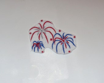 "Small Embroidered Iron On Applique  ""Fireworks"""