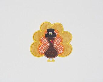 Embroidered Iron On Applique- Pilgrim Turkey  RTS
