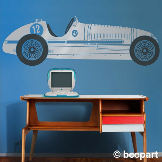 Vintage Auto Wall Decor : Race car vinyl wall decal maserati sticker art vintage