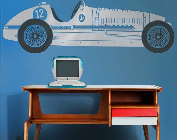 race car wall decal, retro grand prix maserati