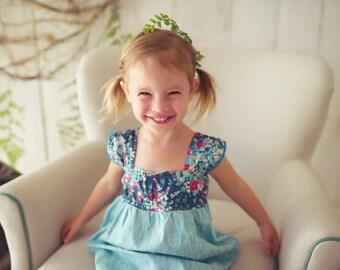 Girl's Dress with Flutter Sleeves  - Cap Sleeve Dress in Blue Floral  - Girl's Dress - Children's Clothing Handmade by bitty bambu