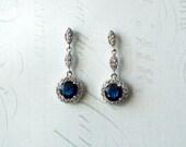 "Sapphire Blue Crystal Bridal Earrings, Blue Wedding earrings, Blue Bridal Dangle Earrings, Vintage Style Sapphire Crystal Earrings - ""PIPER"""