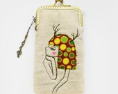 iPhone Case -- Deer Girl Antlers Portrait Free Motion Embroidery (iPhone 7, iPhone 7 Plus, Samsung Galaxy S7 etc. )