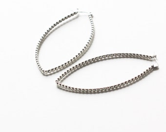 "Sturdy beaded wire sterling silver hoops with a twist modern leaf like shape and larger size - ""Beaded Porter Hoop Earrings"""