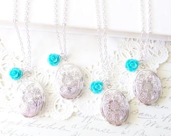 Sterling Silver Plated Locket Set - Bridesmaid Locket Necklace - Oval Locket - Whimsy - Bridal - Flower