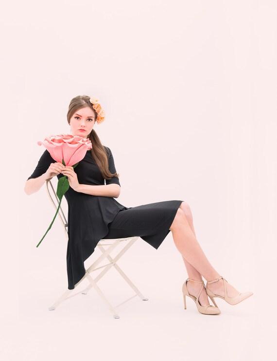 Mia Asymmetrical Little Black Dress - cocktail dress - long peplum dress - evening dress - audrey hepburn dress style
