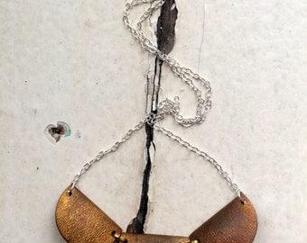 modern scalloped brass necklace.
