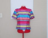 Vintage 80s DARK PASTEL Striped Blouse With Buttons / Womens Medium Large