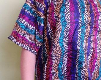 Vintage MULTICOLOR ZEBRA Print Blouse /  1980s Animal Print Shirt / Womens Medium Large