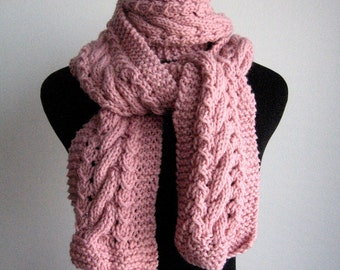 Pale Pink Hand Knit Scarf,Cable and Lace Pink Scarf, Vegan Scarf, Pale Pink Scarf, The Stef Scarf, Womens Scarf, Winter Scarf