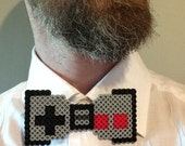 Nintendo Controller Perler Bead Bow Tie - the classic gray NES video game in a bowtie , groomsmen retro gamer hipster pixel art 8bit hama