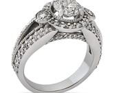 Round cut antique style diamond engagement ring R182