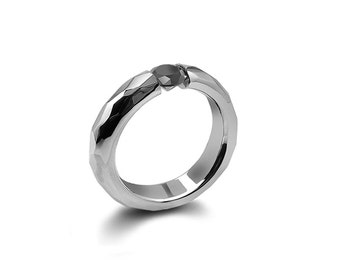 Black Diamond Tension Set Ring Hammered Stainless Steel Mounting