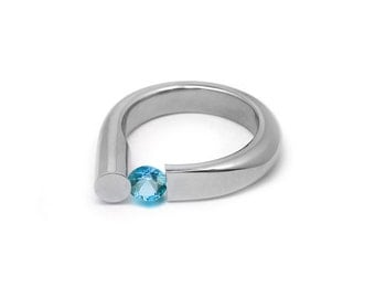 Blue Topaz Ring Tension Set in Stainless Steel