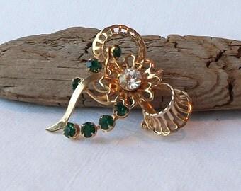 Vintage Emerald Rhinestone Bow Brooch, Emerald Brooch