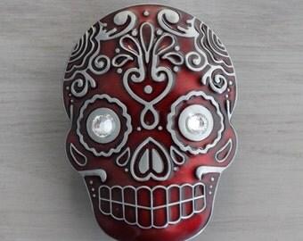 Sugar Skull Drawer Knobs - Cabinet Knobs in Red (MK107) XL